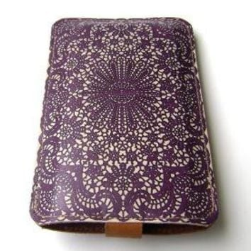 Leather Purple Lace All iPhone's iTouch case by tovicorrie