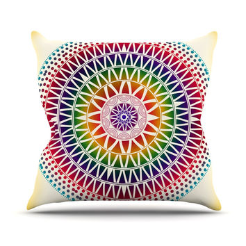 "Famenxt ""Colorful Vibrant Mandala"" Rainbow Geometric Outdoor Throw Pillow"