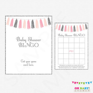 Pink Silver Baby Shower Bingo Game AND Sign, Printable Baby Shower Games, Girl Baby Shower, Pink Gray Bingo, Glitter Tassels, Download TASPS