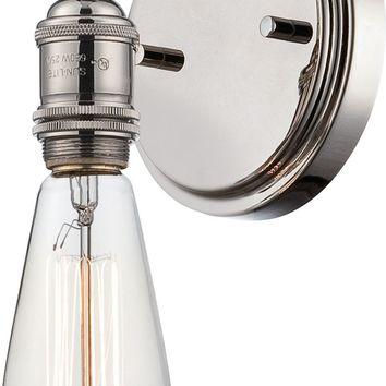 Wall Sconce in Polished Nickel Finish and Vintage Light Bulb