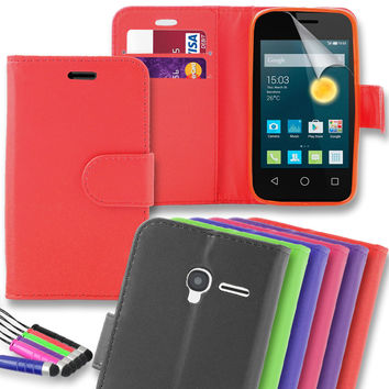 Premium PU Leather Cover Card Wallet Case for Alcatel Pixi 3 (4.5) + Mini Stylus | eBay