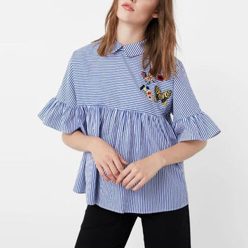 Cute Striped Butterfly Patch Designs Turn-down Collar Pullover Blouse Shirt Back Button Half Flare Sleeve Women Tops SY16-11-65