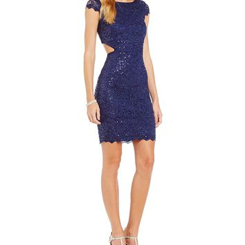 Sequin Hearts Cut-Out Sides Sequin Lace Sheath Dress | Dillards