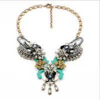 Crystal Wing Leaves Statement Necklace