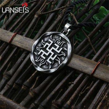 ac PEAPO2Q 1pcs Fern Flower pendant Ancient Slavic Amulet symbol warrior talisman pendant norse Occult Pagan jewelry Germanic men necklace