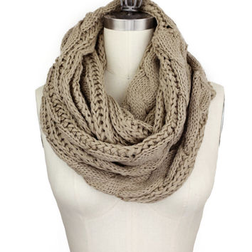 TAUPE CABLE KNIT chunky scarf, cable knit infinity scarf, brown cable knit, knitted scarf