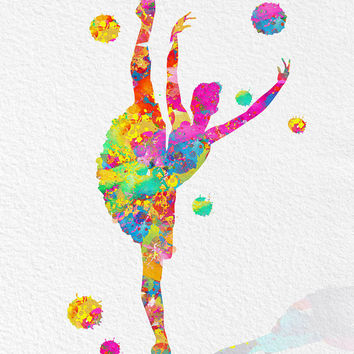 Printable watercolor dancer, ballerina digital Print ballet dancer Instant Download girl dancing digital poster archival quality files