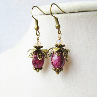 Dark Purple & Bronze Dainty Leafy Flower Earrings
