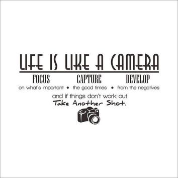 """Inspirational wall decal """"Life is like a camera"""" Motivating Quote Vinyl"""