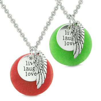 Guardian Angel Wing Live Laugh Love Inspirational Amulets Couples Set Red Green Quartz Necklaces