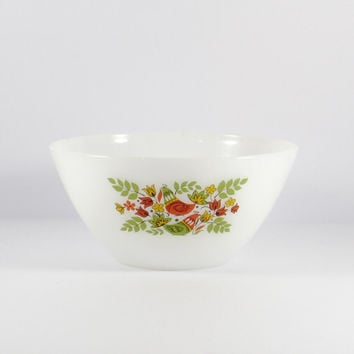 Vintage 1960s Arcopal France, French Partridge Hens Large Mixing bowl, red, yellow, green, Dutch Birds