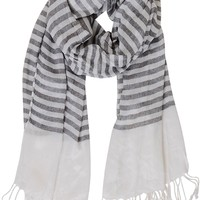 Shelter Island Scarf - Lightweight Striped Shawl - Humblechic.com