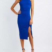 Mock Neck Bodycon Midi Dress