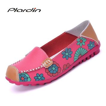 Cow Muscle Ballet Flower Print Women Genuine Leather Shoes Woman Flat Flexible Nurse