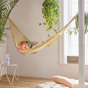 Yellow Leaf Natural Double Hammock | Urban Outfitters