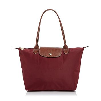 NEW AUTHENTIC LONGCHAMP LE PLIAGE MEDIUM NYLON LEATHER TOTE BAG Garnet Red