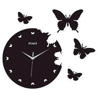 Creative Motions Butterfly Clock - Black