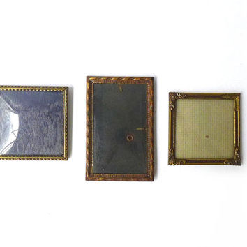 Set of three 1930's vintage brass Danish photo frames convex glass