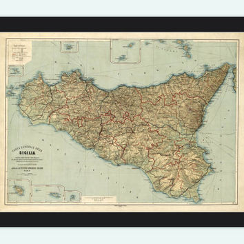 Old Map of Sicily Sicilia, Italia 1891