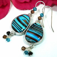 Turquoise Blue Calsilica and Swarovski Crystal BOHO SS Dangle Earrings
