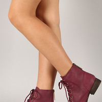Breckelle Georgia-43 Zipper Military Lace Up Bootie