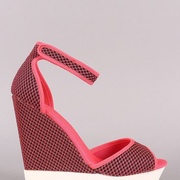 Neon Mesh Lug Sole Platform Wedge