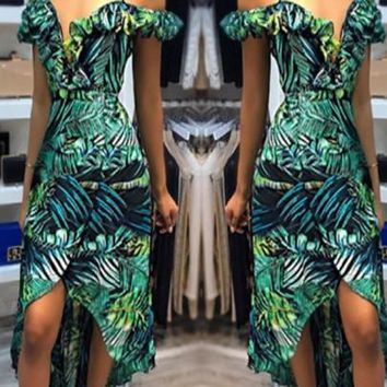 New Women Green Bohiman Floral Draped Deep V-neck High-low Spaghetti Strap Homecoming Party Long Jumpsuit