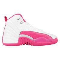 Air 12 Retro White/Pink-Metallic Silver Leather Kids Boys And Girls