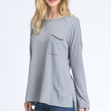Long Sleeve Pocket Tee- Gray