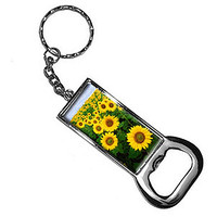 Field Of Sunflowers Bottle Opener Keychain