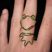 Wire Wrapped Kermit The Frog MADE to ORDER Adjustable Ring Small
