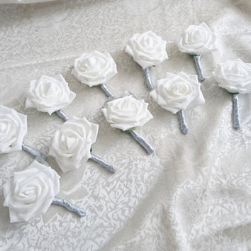 Set of 10 White foam rose silver glitter brooches silver flowers wedding boutonniere corsage satin ribbon custom