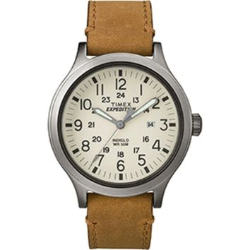 Timex Expedition® Scout 43 Watch - Natural Dial/Tan Leather
