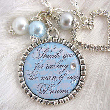 MOTHER of the GROOM Gift Thank you for raising the Man of my Dreams Gift for Mother in Law Blue Damask wedding Mil Gift Something Blue Quote