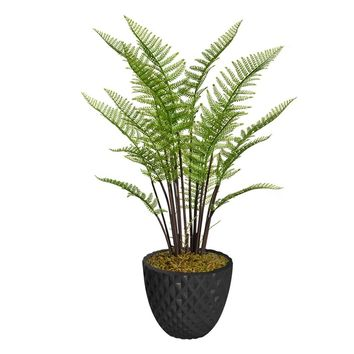 "47.6"" Artificial Fern Plant Indoor/ Outdoor with Burlap Kit in 13.6"" Black Decorative Honeycomb Planter"