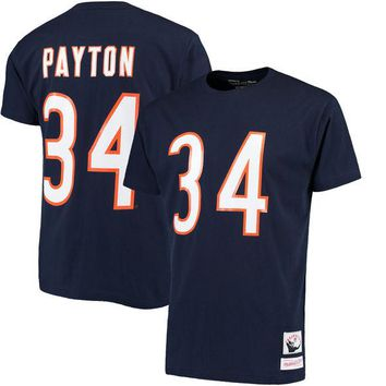 Men's Chicago Bears Walter Payton Mitchell & Ness Navy Name & Number Throwback T-Shirt