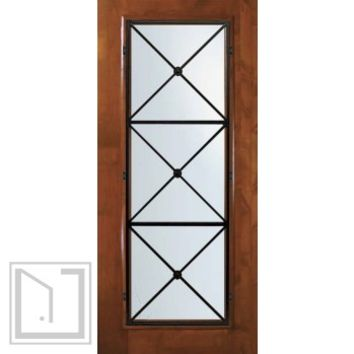Slab Front Single Door 80 Wood Alder republic Full Lite Wrought Iron