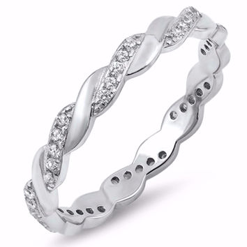 Sterling Silver CZ Simulated Diamond Twisted Eternity Ring