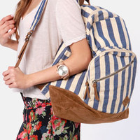 Roxy Lately Beige and Blue Striped Backpack