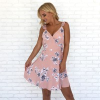 First Bloom Floral Wrap Dress in Pink