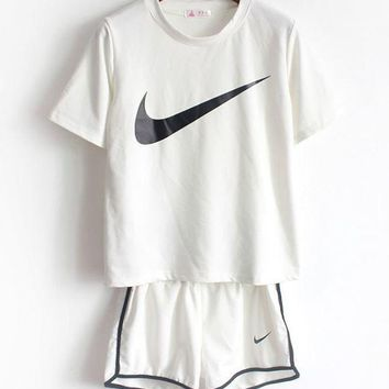 NIKE Fashion Women Print Short Sleeve Round Collar Sport Gym Sweatpants Set Two-Piece Sportswear I