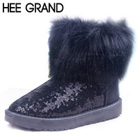 HEE GRAND Plush Warm Fur Women's Sequined Glitter Snow Boots Bling  Fashion Ankle Boots Winter Cotton Shoes For Woman XWX2902
