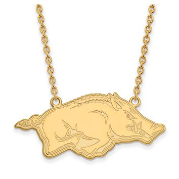 NCAA 10k Yellow Gold U of Arkansas Large Pendant Necklace