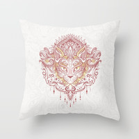 Cat mandala Throw Pillow by printapix
