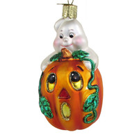 Old World Christmas Glass Ornament Pumpkin Ghost Spooky Halloween OWC Hand Blown Glass Ornament Made In Germany
