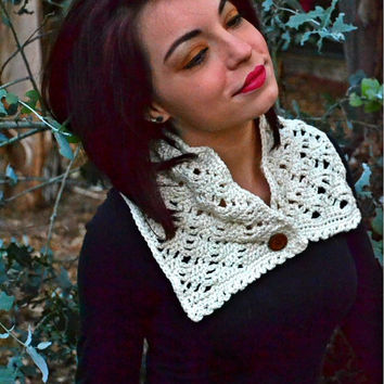 Crochet Spiderweb Scarf - Scarflette - Collar - Cream - Off White - Ecru - Natural - Vegan - Neutral - Gift for Her