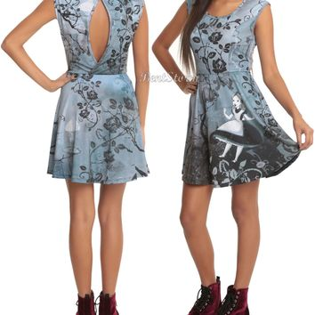 Licensed cool Disney Alice In Wonderland Falling Gothic Art Fit & Flare Dress Black/Gray/White