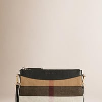 Canvas Check and Leather Clutch Bag