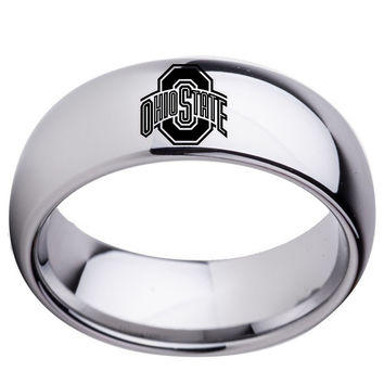 Ohio State Buckeyes Silver Tungsten Wedding Band 8mm Boy Girl TungstenRing Size 7 to 13