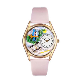 Whimsical Watches Healthcare Nurse Gift Accessories Bird Watching Yellow Leather And Goldtone Watch